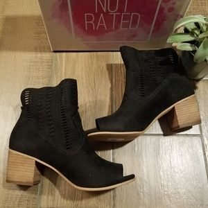 Not Rated black cutout heel booties suede 9.5
